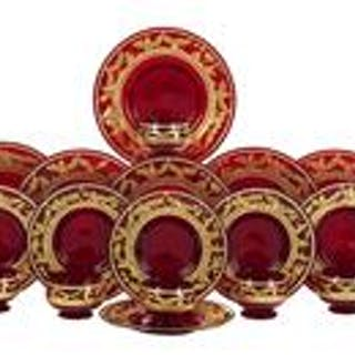 Set of Bohemian Gilded Ruby Glassware