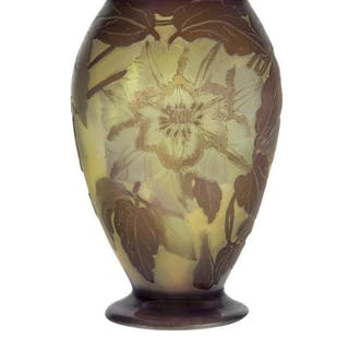 Gallé, a cameo glass vase with clematis c.1910, signed in cameo Gallé