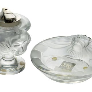 Lalique, a clear and frosted glass lighter with Ronson mechanism and