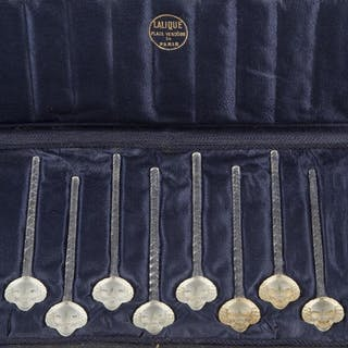 René Lalique (1860-1945), a set of eight clear and frosted glass cocktail