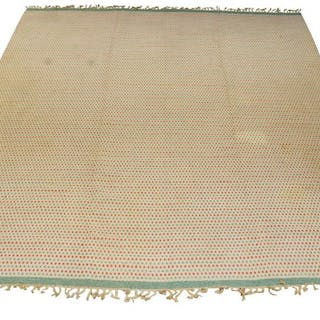 Swedish, a handwoven carpet in red, green and cream 3rd quarter 20th