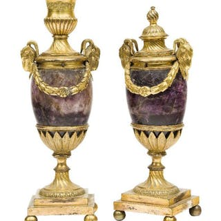 A pair of George III ormolu and blue-john cassolettes, attributed