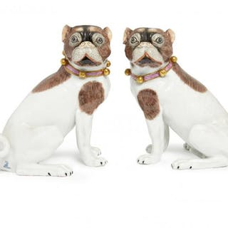 A pair of Dresden porcelain models of pugs, 20th century, modelled