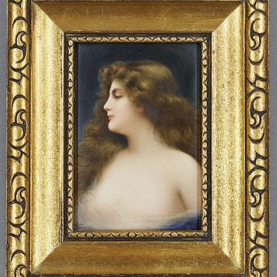 A German KPM style porcelain plaque, 19th century, painted with a