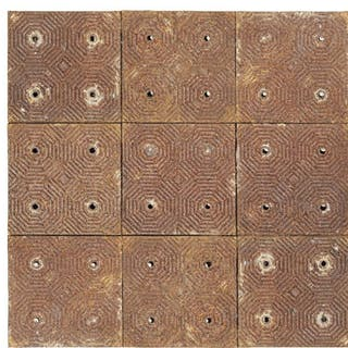 One hundred Victorian cast-iron floor tiles from the wine cellar of