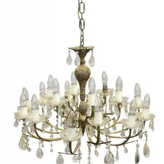 A pair of metal and glass two tier eighteen light chandeliers, 20th