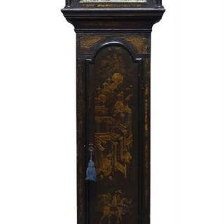 A George II black japanned longcase clock by Randell, Portsmouth Common