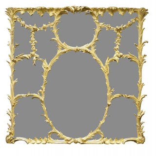 A Rococo revival giltwood and gesso overmantle mirror, early/mid 19th