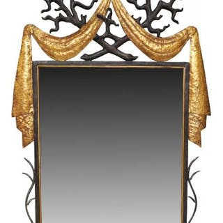 A parcel-gilt wrought iron and composition mirror, after a design