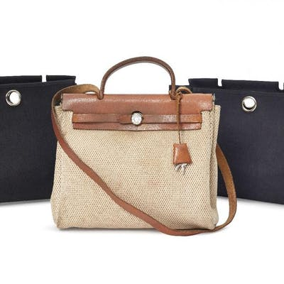 Hermes: an Hermes tan leather and fabric Her bag, together with two
