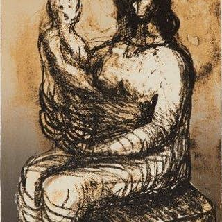 Henry Moore OM CH FBA, British 1898-1986- Mother with Child on lap