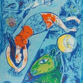 After Marc Chagall, Russian/French 1887-1985- The Blue Circus, 1950;
