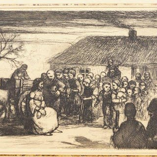 Northern European School, early-mid 20th century- Villagers gathered