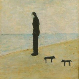Laurence Stephen Lowry RBA RA, British 1887-1976- Man Looking Out