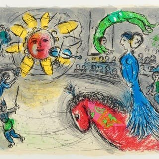 Marc Chagall, Russian/French 1887-1985- Sun with Red Horse [Mourlot