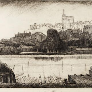 Joseph Webb, British 1908-1962- Windsor Castle; eight drypoint etchings