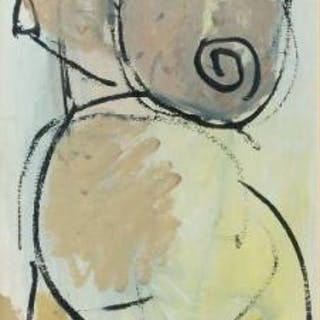 Rod Walker NSA, British b.1949- Female nude; acrylic on paper, signed