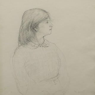John Sergeant, British 1937-2010- A Girl; pencil on wove paper, signed