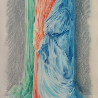 Adrian George, British b.1944- Marble with drapes, 1985; pastel with