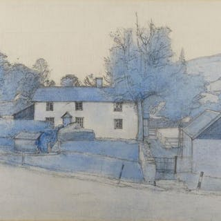 John Sergeant, British 1937-2010- Welsh Village, 1986; monochrome