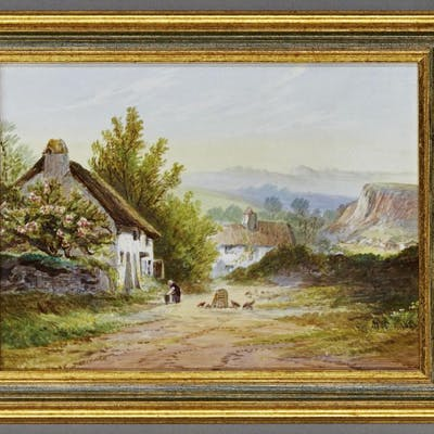 An English porcelain plaque decorated with a country view, 19th century