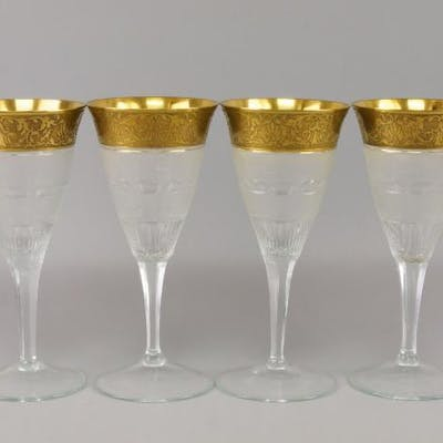 A collection of six large Moser cut and gilded glass goblets, 20th