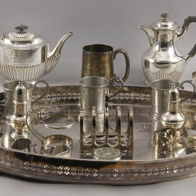 A quantity of silver plate, to include a large oval serving tray with