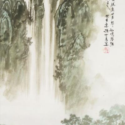 20th century Chinese School, ink and colour on paper, hanging scroll