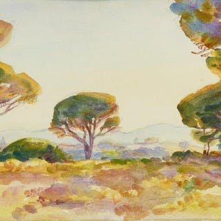 Wilfred Gabriel de Glehn RA, British 1870-1951- Pines of Sunset, Frejus;