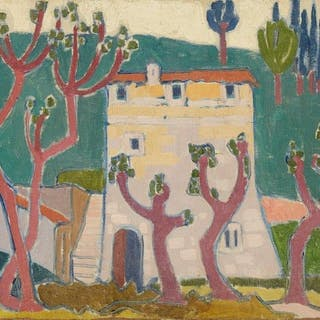 Jessica Dismorr, British 1885-1939- House and trees; oil on canvas