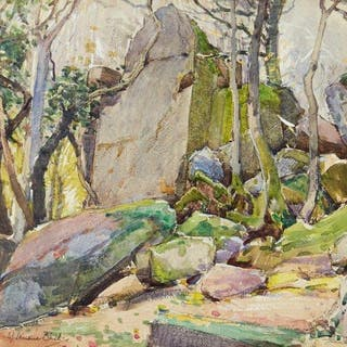 Samuel John Lamorna Birch RA RWS, British 1869-1955- Rocks and Trees;