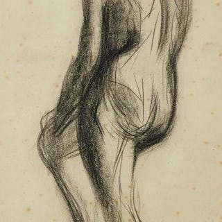 Leon Underwood, British 1890-1975- Standing male nude with right leg