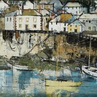 George Hammond Steel, British 1900-1960- Mousehole; oil on board