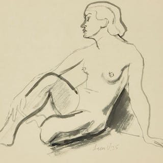 Leon Underwood, British 1890-1975- Seated female nude with a hand