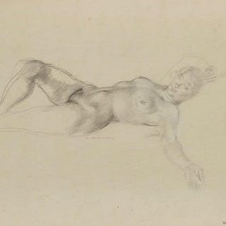 Leon Underwood, British 1890-1975- Nude lying on her back with an