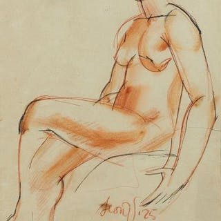 Leon Underwood, British 1890-1975- Seated female nude,1925; sanguine