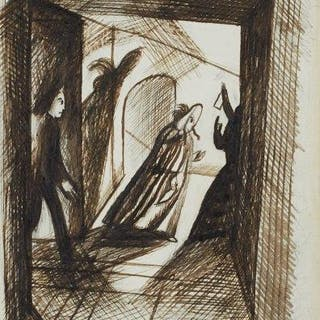 Edward Bawden CBE RA, British 1903-1989, Cloak and Dagger; pen and