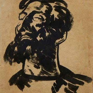 Jacob Kramer, Ukrainian/British 1892-1962- Head of a bearded man