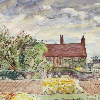 Leon Underwood, British 1890-1975- Manor House, Hanbury, 1942; watercolour