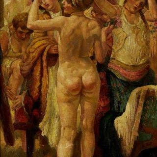 J Feldman, early 20th century- Nude woman in crowded changing room;