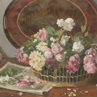 Donald Towner, British 1903-1985- Still life of flowers in a basket
