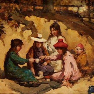 Thomas Bromley Blacklock, Scottish 1863-1903- The Picnic; oil on canvas
