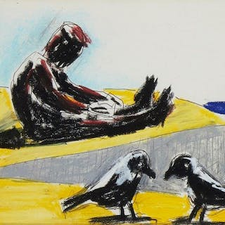 Josef Herman OBE RA, Polish/British 1911-2000- Feeding the Birds
