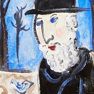 Dora Holzhandler, French/British 1928-2015- Rabbi with a white bird;