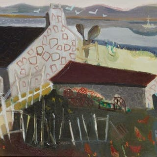 Anthea Craigmyle, British 1923-2016- Airor with Chickens; oil on canvas