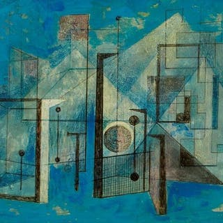 Clarke Hutton, British 1898-1984- Untitled abstract (turquoise), 1983;