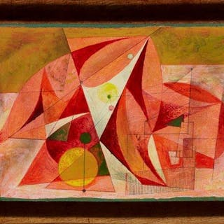 Clarke Hutton, British 1898-1984- Untitled abstract (red, pink, yellow