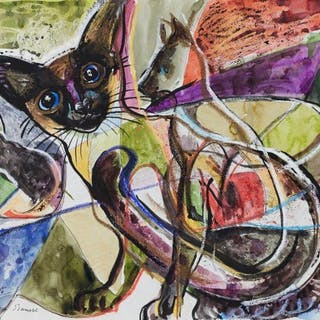 Derrick Latimer Sayer, British 1917-1992- Siamese Cat, 1991; mixed