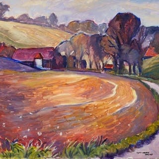 Fyffe Christie, British 1918-1979- Farm and Fields in Spring, 1977;