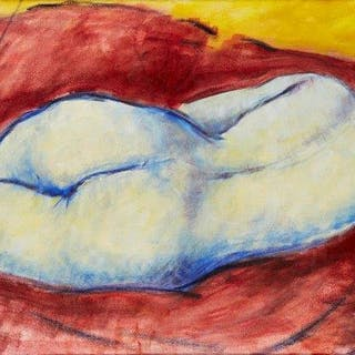 Fyffe Christie, British 1918-1979- Reclining Figure in a Red Landscape